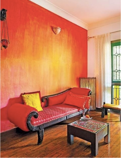 Red Yellow Ombre Room