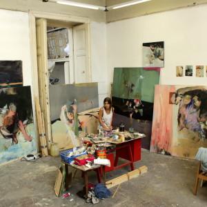 sitting in the studio
