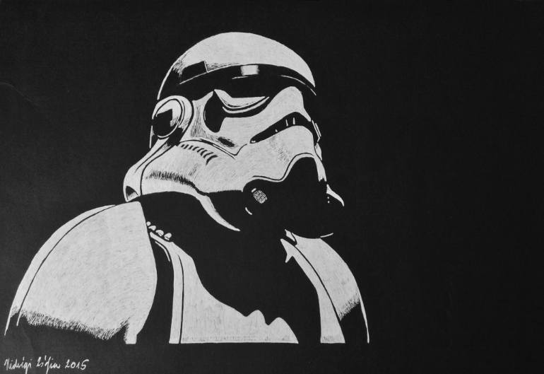 saatchi art black and white star wars stormtrooper drawing