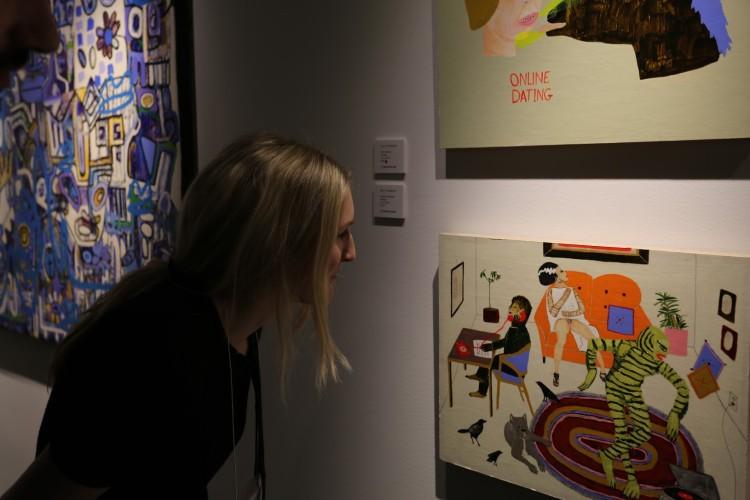 "Associate Curator Kat Henning appreciates ""Saturday Afternoon"" by Kelly Puissegur"