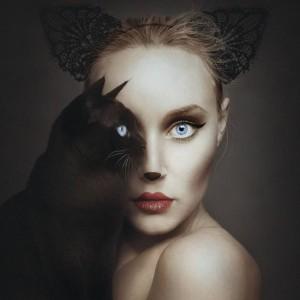digital photographs combine human and animal forms