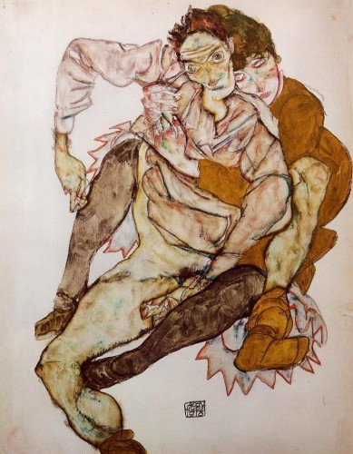 "Egon Schiele's ""The Embrace"" (1915) was the first in a series of works depicting the artist and his wife immediately after their marriage."