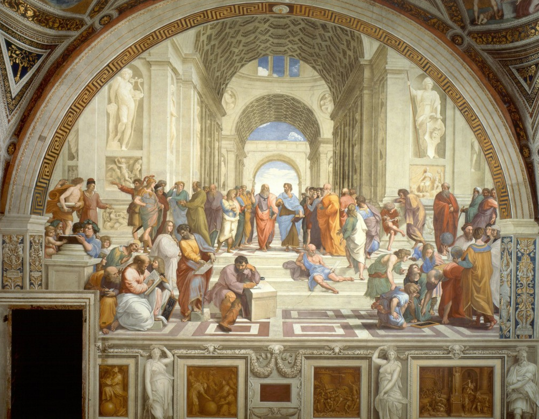 raphael's famous The School of athens at St. Peter's Basilica