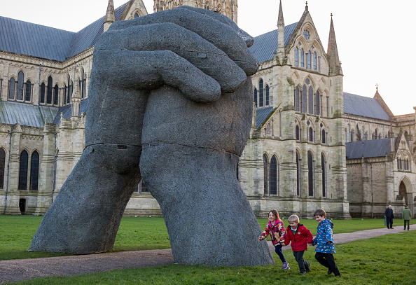 texters vulnerable to sophie ryder's giant hand sculpture bump their heads