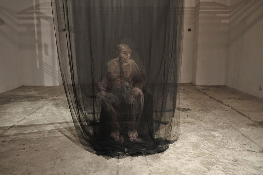 net is used as the canvas for these portraits