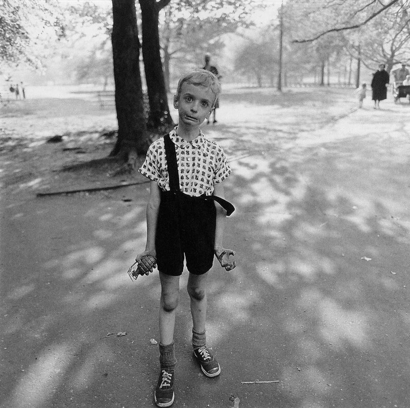 diane arbus' child with a toy hand grenade in central park