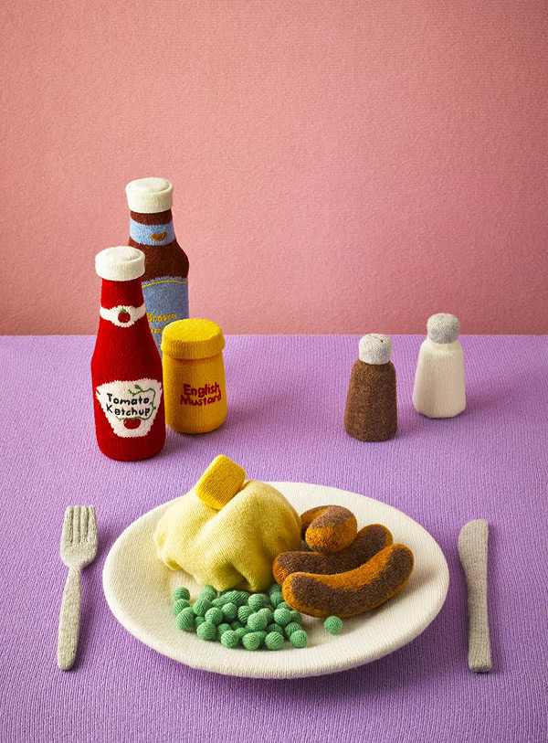 Meals are crafted entirely from lambswool by Jessica Dance and David Sykes via Boooooooom
