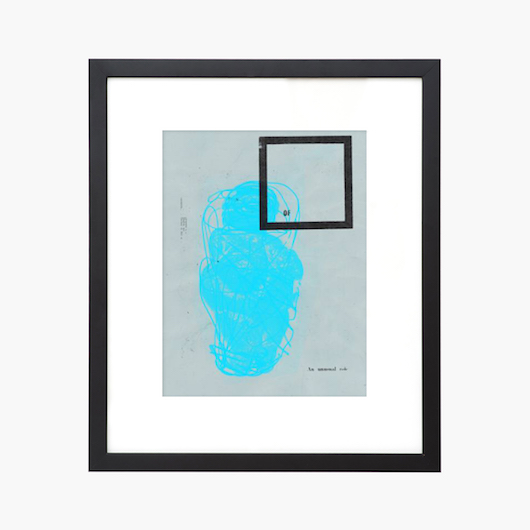 bright blue graphic geometric print with black frame for modern contemporary midcentury design