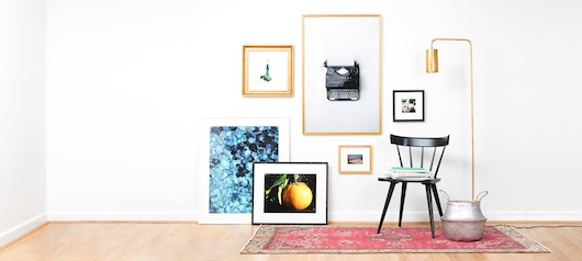Girly apartment gallery wall with framed original photography
