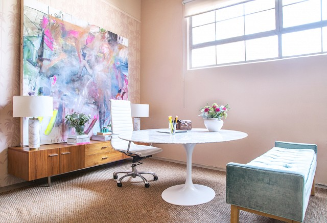 feminine office decor with artwork