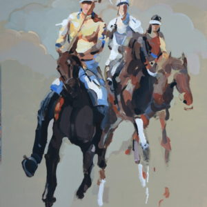 sunday-polo-Xiao-Hong-saatchi-art-horses-figurative-painting