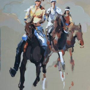 sunday-polo-Xiao-Hong-saatchi-art-horses-figurative-painting