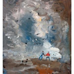 friends-Thomas-Edetun-saatchi-art-blue-brown-brush-stroke-painting