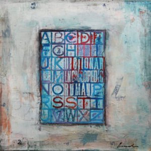 Letters-Abstract-Painting-on-canvas-Mixed-media-collage-Emanuel-Mirel-Ologeanu-saatchi-art-blue-red-painting