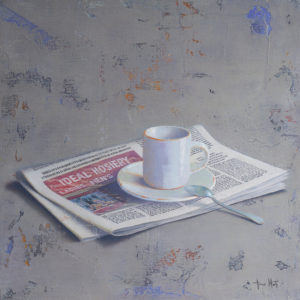 Newspaper-and-coffee-Tomasa-Martin-saatchi-art-figurative-painting