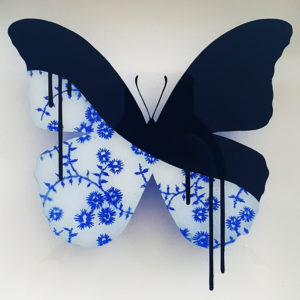 ORIGINAL-Mini-Delft-China-Butterfly-Vee-Bee-saatchi-art-glass-painting