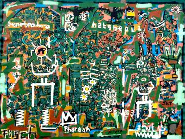 green and blue and yellow basquiat inspired original art