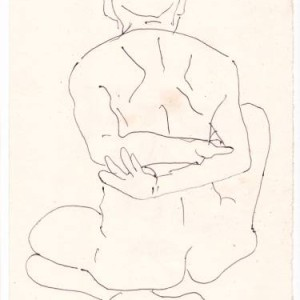 black and white minimalist sketch of man
