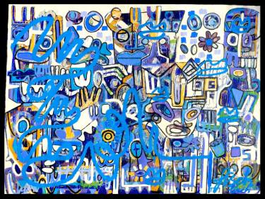 modern contemporary painting Basquiat inspired blue