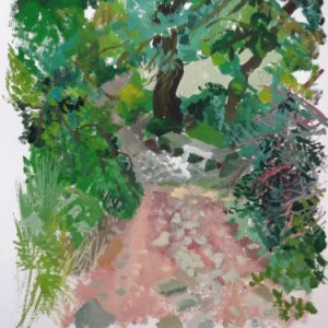 original painting of a forest landscape by saatchi art artist Roland Gschwind