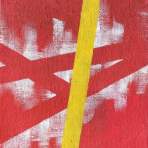 modern abstract original painting red with yellow stripe