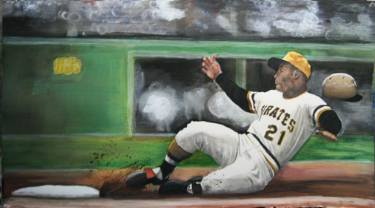 realist painting of baseball player roberto clemente by saatchi art artist margie lawrence
