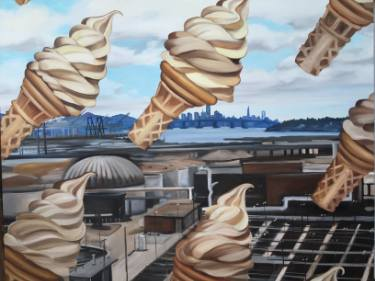 realistic painting of flying soft serve icecream cones over oakland by saatchi art artist jules muck