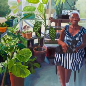 realist portrait painting of elderly woman on her sunporch by saatchi art artist rachel campbell