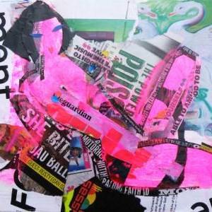 modern art collage with pink nude by saatchi art artist helen gorrill