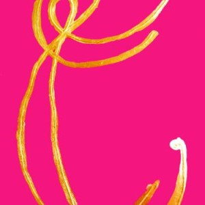 hot pink and gold painting by mersman at saatchi art