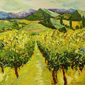 yellow landscape oil painting expressionist style