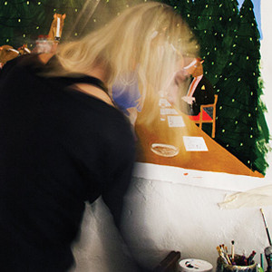 saatchi art artist kelly puissegur painting in her studio