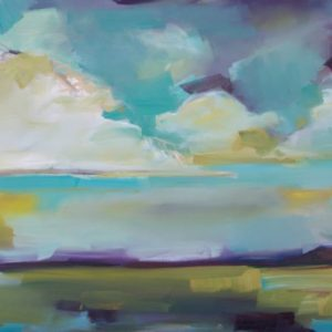 pink yellow purple landscape painting with clouds for sale online