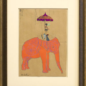 Maharaja-entering-his-Darbar-hormazd-narielwalla-saatchi-art-orange-collage