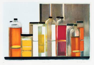 peri-schwartz-bottles-and-jars-one-saatchi-art-etching-orange-yellow