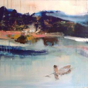 Japanese fisherman Painting, 39.4 H x 47.2 W x 1.6 in Hennie van de Lande
