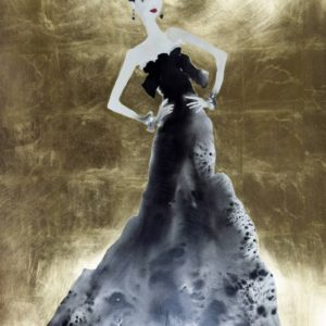 flirt-bridget-davies-saatchi-art-gold-dress-woman-painting