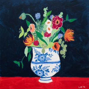 Bouquet of Flowers in Blue and White Urn Lara Meintjes