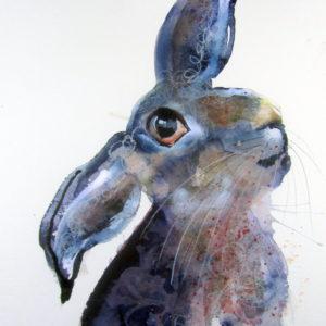 Blue-Velvet-Violeta-Damjanovic-Behrendt-saatchi-art-rabbit-watercolor-painting-bunny