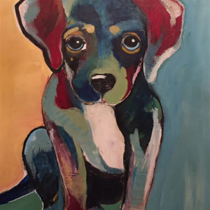 Colorful-Dog-Amy-Needle-Redei-saatchi-art-acrylic-puppy-painting