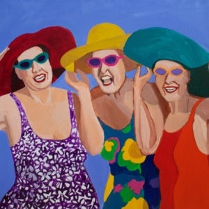 Women-on-the-Beach-Toni-Silber-Delerive-saatchi-art-figurative-painting