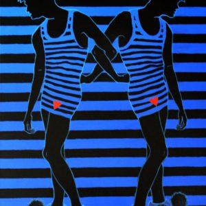 Boyzzz...-Maria-Theodora-Dimaki-saatchi-art-blue-striped-painting