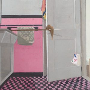 Bathroom-Beach-Towel-Hand-Towel-Birthday-Cake-Pizza-justin-webb-saatchi-art-figurative-pink-painting