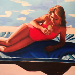 poolside-elizabeth-lennie-saatchi-art-figurative-painting-girl