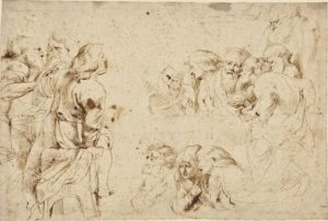 Three Groups of Apostles in a Last Supper (recto); Three Sketches for Medea and Her Children (verso); Peter Paul Rubens (Flemish, 1577 - 1640); about 1600 - 1604; Pen and brown ink; 29.7 × 43.8 cm (11 11/16 × 17 1/4 in.); 84.GA.959
