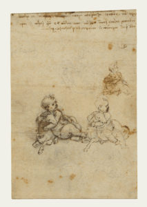 Studies for the Christ Child with a Lamb (recto); Head of an Old Man, and Studies of Machinery (verso); Leonardo da Vinci (Italian, 1452 - 1519); Italy; about 1503 - 1506; Black chalk, pen and brown ink; 21 × 14.1 cm (8 1/4 × 5 9/16 in.); 86.GG.725