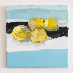 Lemons on Blue cloth Lisa Patroni