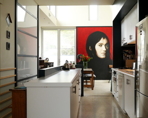 Red modern portrait in kitchen