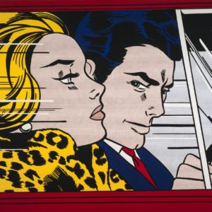 Roy Lichtenstein     In the car 1963     oil and magna on canvas, 172 x 203.5 cm     Scottish National Gallery of Modern Art     Purchased 1980     © Estate of Roy Lichtenstein     ***This image may only be used in conjunction with editorial coverage of the Pop to popism exhibition, opening November 2014, at the Art Gallery of New South Wales. This image may not be cropped or overwritten. Prior approval in writing required for use as a cover. Caption details must accompany reproduction of the image.*** Media contact: Lisa.Catt@ag.nsw.gov.au *** Local Caption *** ***This image may only be used in conjunction with editorial coverage of the Pop to popism exhibition, opening November 2014, at the Art Gallery of New South Wales. This image may not be cropped or overwritten. Prior approval in writing required for use as a cover. Caption details must accompany reproduction of the image.*** Media contact: Lisa.Catt@ag.nsw.gov.au