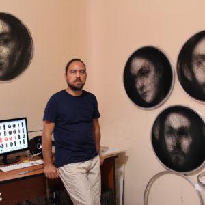 Petros Vrellis in his studio